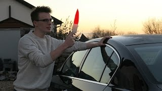 EXPERIMENT Glowing 1000 degree KNIFE VS A CAR!!! (SKIT)