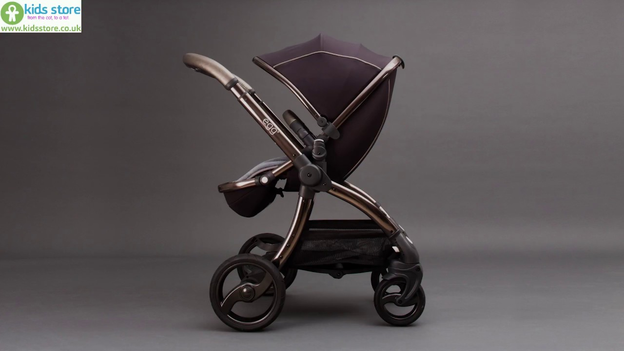 Egg Pram Gunmetal Egg Shadow Black Stroller On Anodised Gunmetal Frame