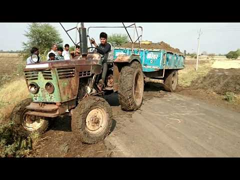 Old Kirloskar Tractor Stuck in Mud with loaded trolley of Soil