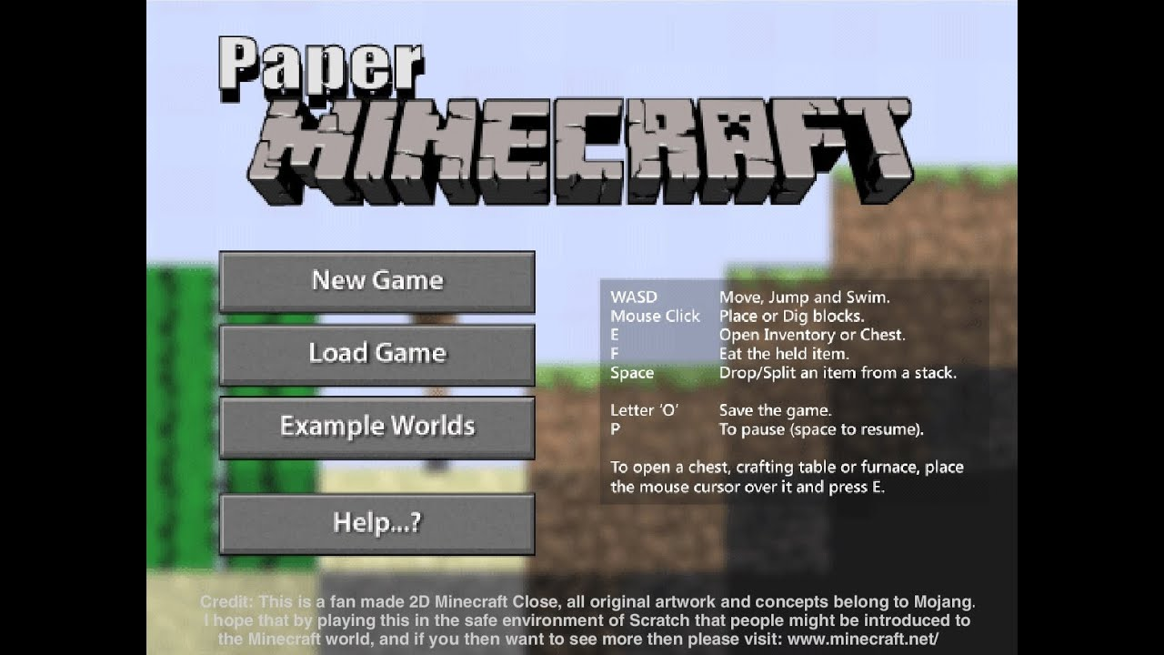 Mine Eren Plays Paper Minecraft Scratch Game YouTube - Minecraft spiele original