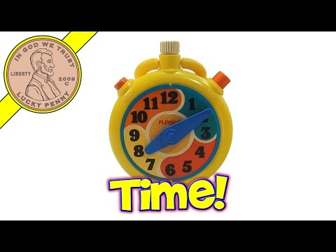 Playskool Vintage Yellow Wind Up Stopwatch Clock Toy