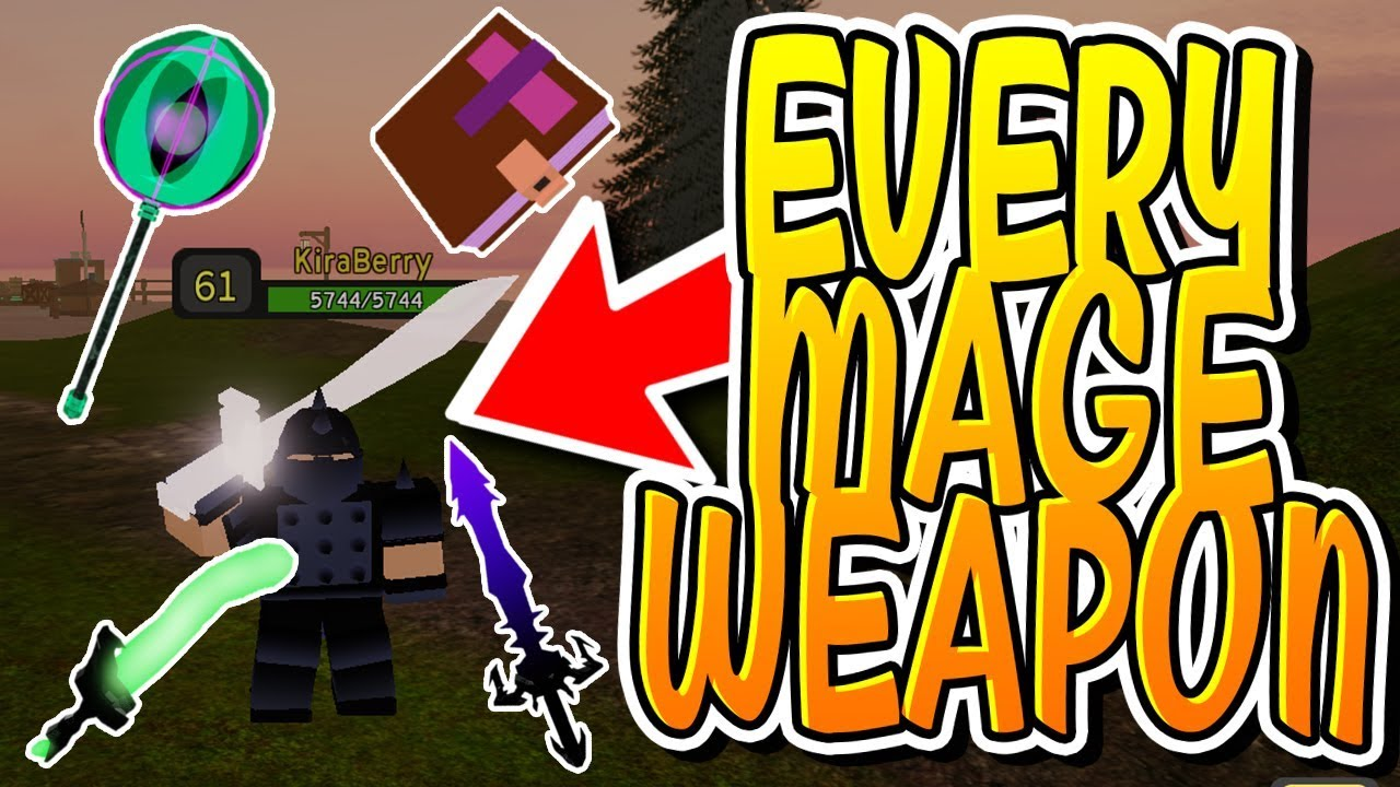 Every Mage Weapon In Dungeon Quest Roblox Youtube