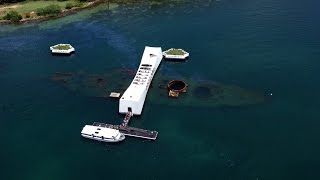 ГАВАЙИ или Мемориал линкора «Аризона», который затонул в Пёрл-Харбор.