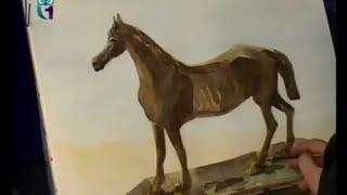 Уроки рисования (№ 36) акварелью. Рисуем лошадь
