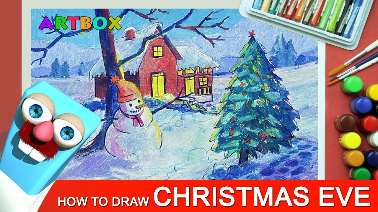 How To Draw Christmas Eve Scenery With Snowman For Kids Youtube