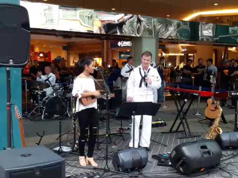 I'M Yours (cover) Maisarah Ukulele performing with the US Navy Pacific Fleet Band at E-Curve