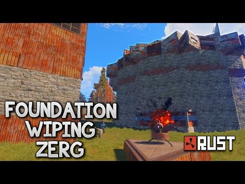 FOUNDATION WIPING A ZERG (102 Rockets/16 C4) - Rust: Raids (Vanilla)