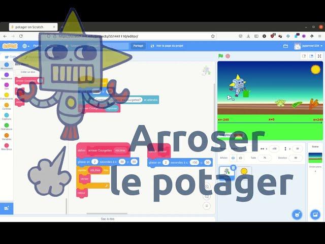 Robotique: Arrosage d'un potager virtuel: niveau 1