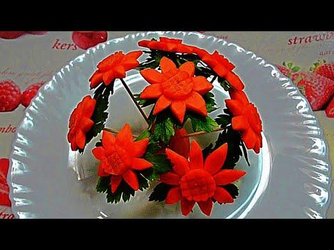 HOW TO MAKE CARROT FLOWER! ART IN CARROT & VEGETABLE CARVING