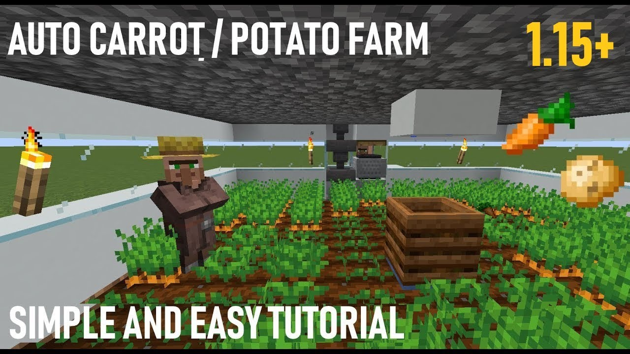 Minecraft 1.14 Auto Carrot and Potato Farm Tutorial Simple and Easy