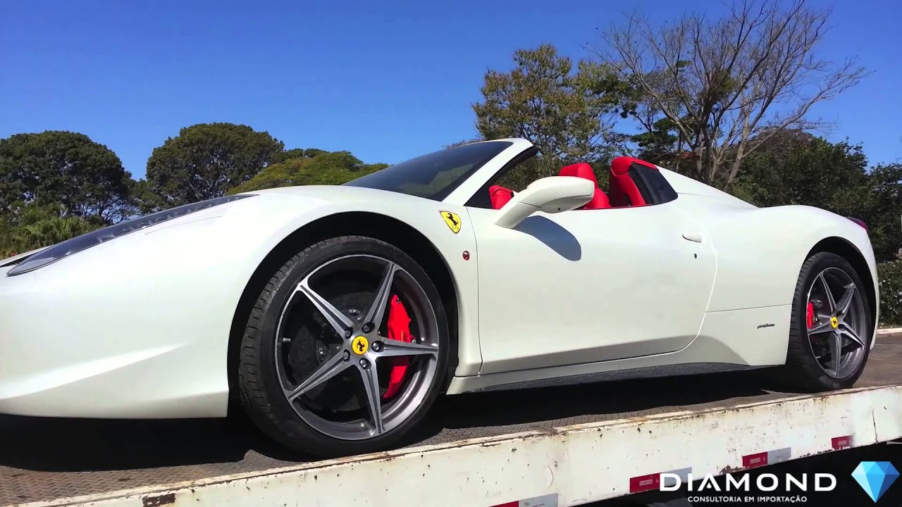 2014 Ferrari 458 Spider >> Ferrari 458 Spider Branco Pérola sendo entregue em Brasília - YouTube
