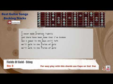 🎸 Fields Of Gold - Sting Guitar Backing Track with scale, chords and lyrics