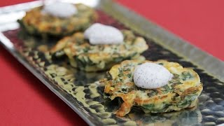 Collard Greens & Sweet Corn Buttermilk Cakes - Served With Sumac-sour Cream!