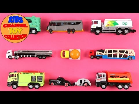 Learn Vehicles For Kids Children Babies Toddlers With Oil Tank Caravan Garbage Truck