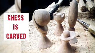 Chess is carved