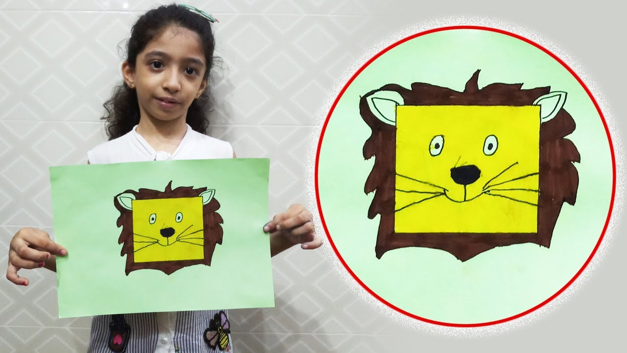 How to Draw a Lion for Kids from Basic Square Shape -- Drawing and Coloring Step by Step