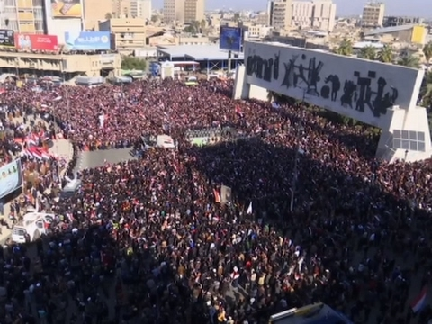 Raw: Anti-Government Protests in Baghdad