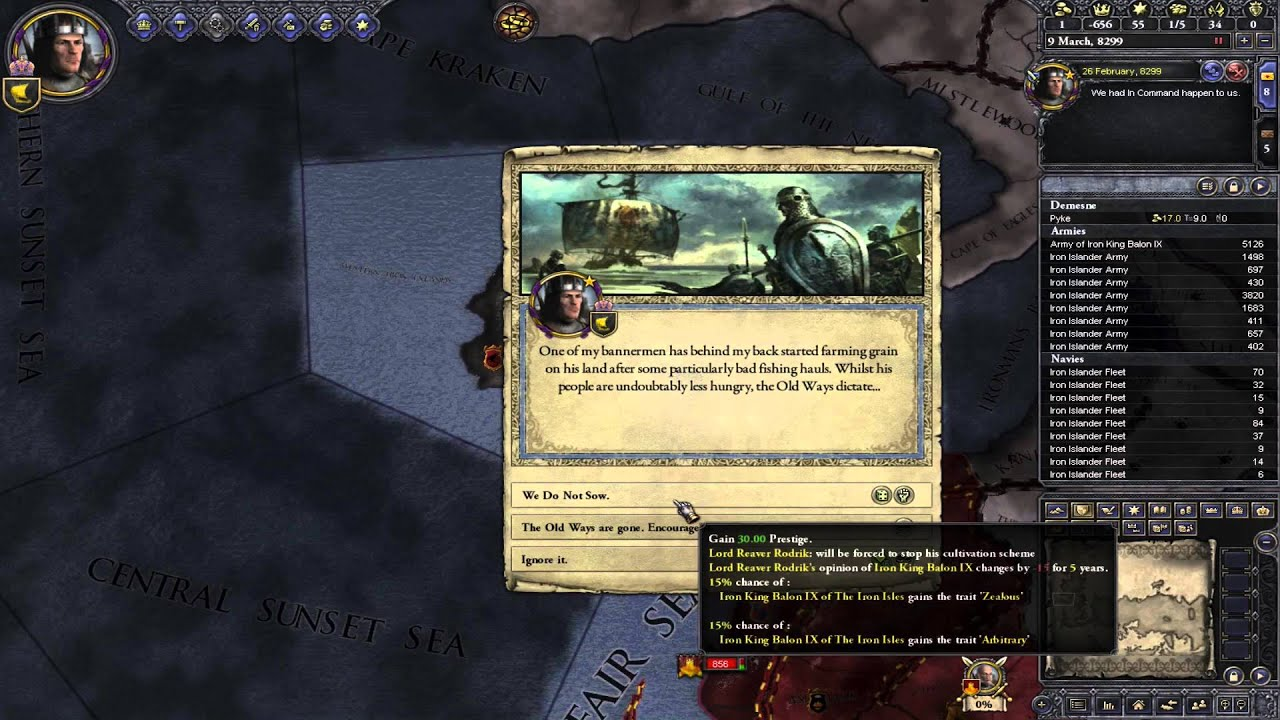 Ck2 GoT: Balon Greyjoy's second choice #1 - Attacking the Lannisters
