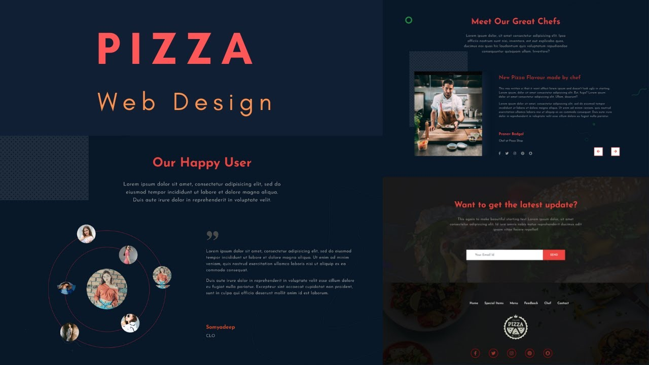 Pizza website using HTML, CSS and jQuery (Testimonial, Chef and footer section) | Part - 6