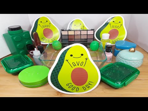 Making Avocado slime glitter, Makeup, eyeshadow and MIXING Thing into Slime ASMR! SatisfyingSlime#28