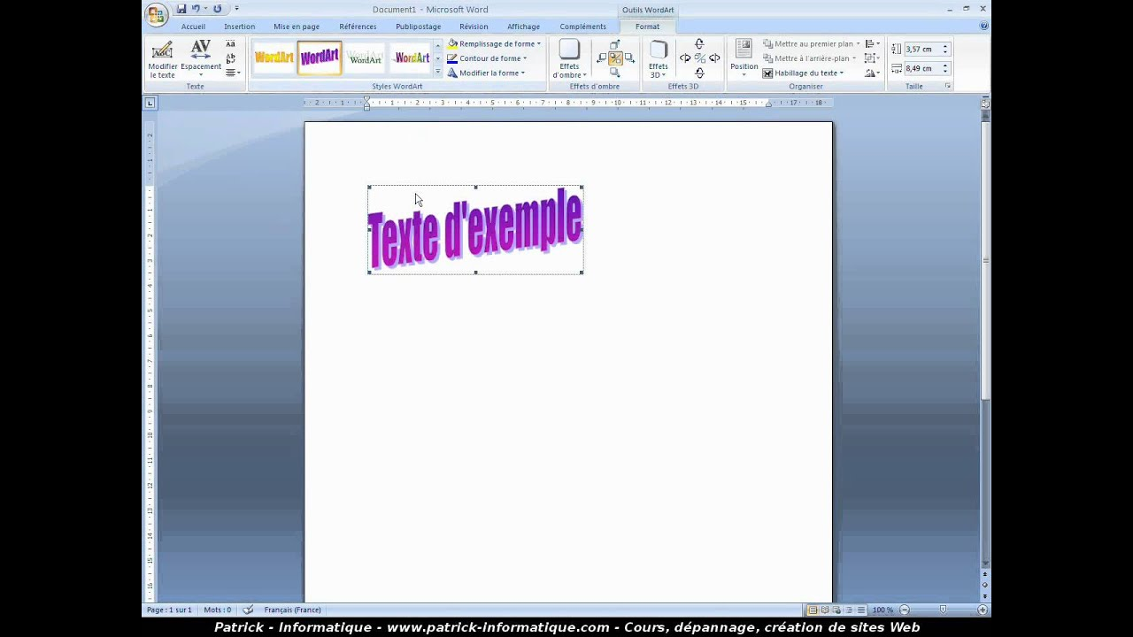 how to add wordart in word 2007