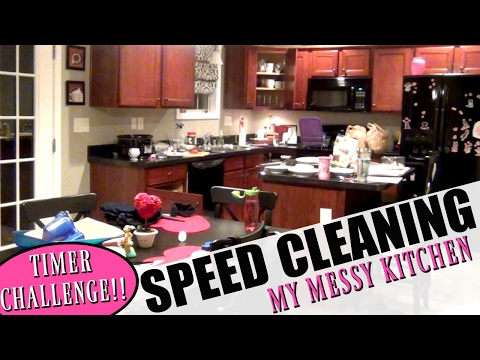 CLEAN WITH ME | SPEED CLEANING MY MESSY KITCHEN | TIMER CHALLENGE