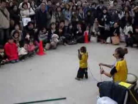 2010 Marzo/Aprile This is Japan!: Osaka, spettacolo scimmia/Monkey Show @Osaka Castle