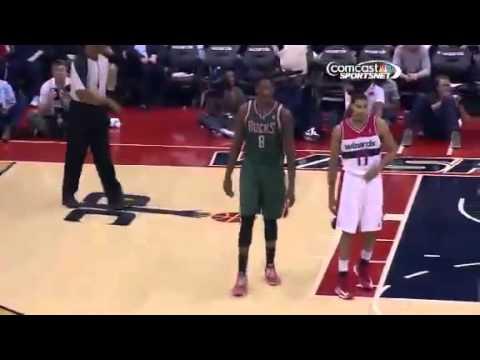 Larry Sanders Gets Ejected Bucks vs. Wizards