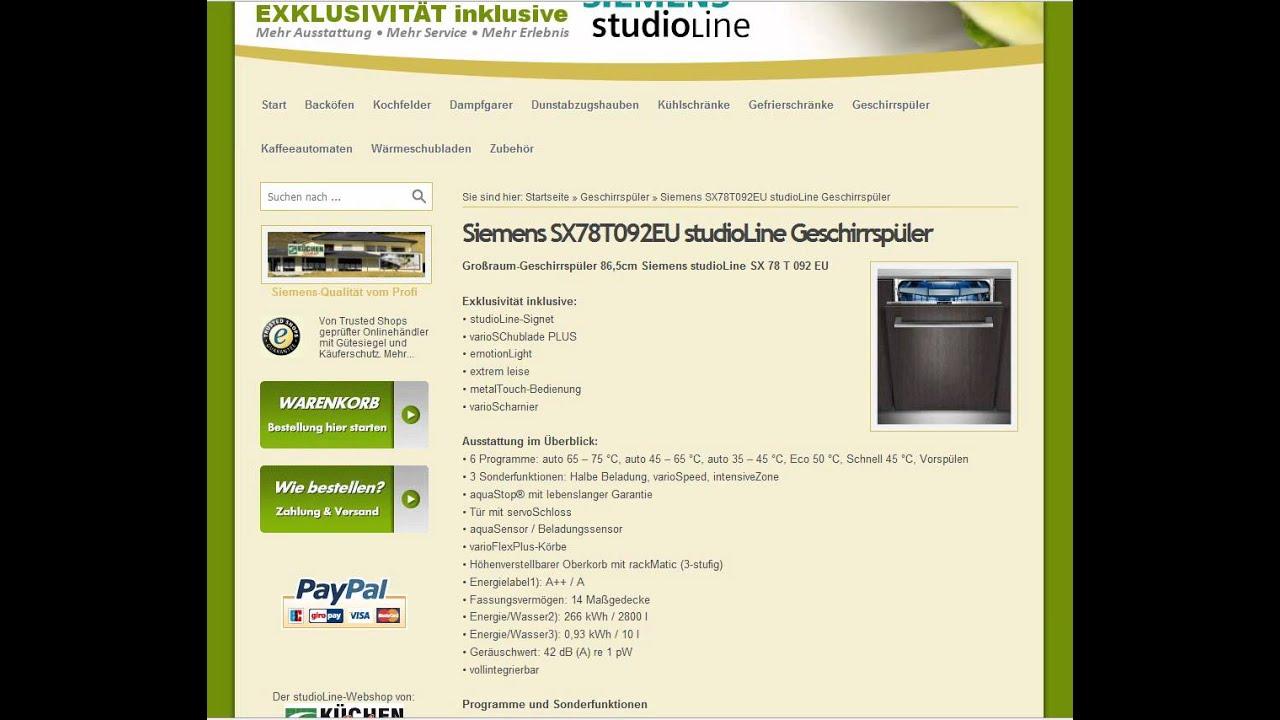 Siemens SX78T092EU StudioLine Großraum Geschirrspüler Auf Stoeckerline.de  Bestellen