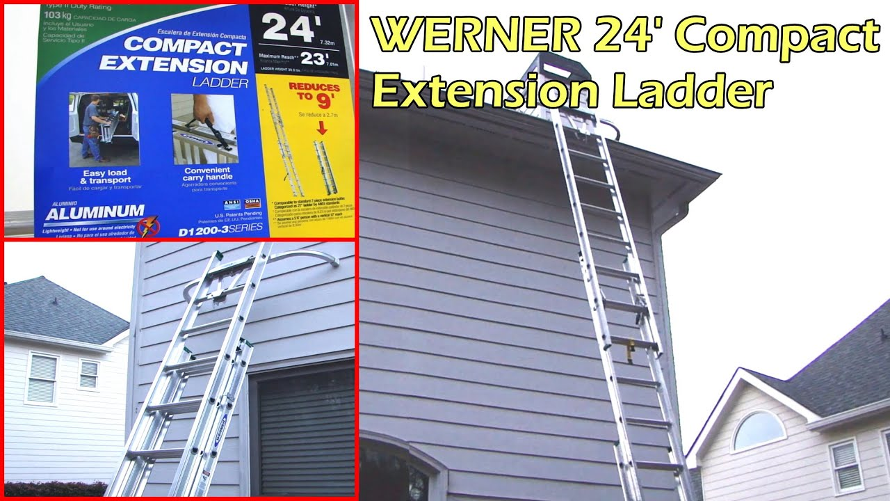 Werner 24 Foot Compact Extension Ladder & Quick Click Stabilizer - Clean Gutter