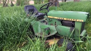 John Deere 1973 110 start up and mowing