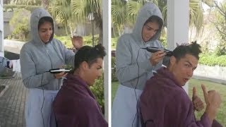 Georgina Rodriguez cutting hair Cristiano Ronaldo during quarantine in Madeira