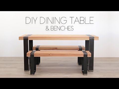 DIY Modern Dining Table w/ Matching Benches | Modern Builds