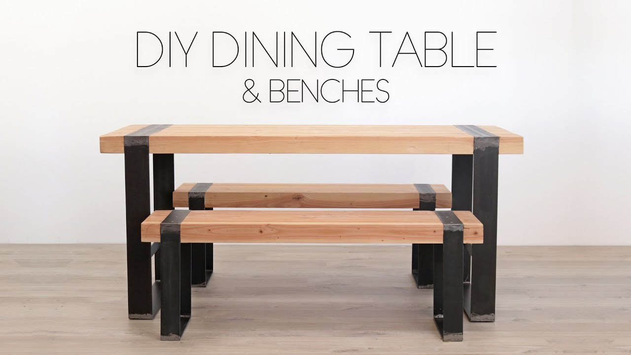 Diy Farmhouse Table With Metal Legs Diy Modern Dining Table W Matching Benches Modern Builds
