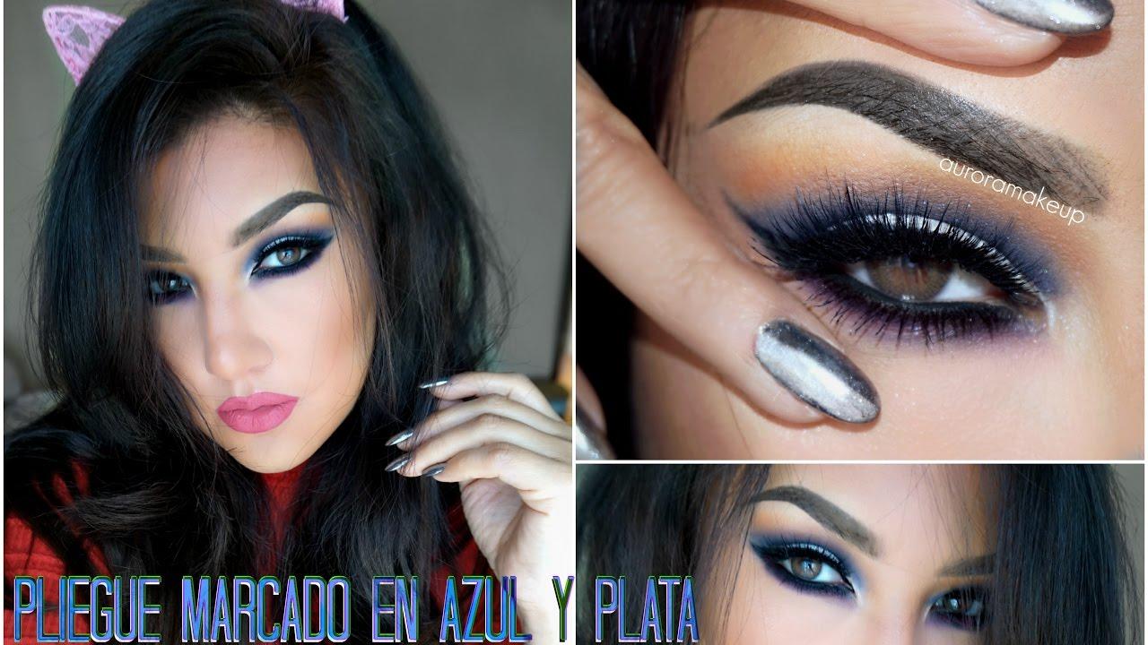 Maquillaje de OJOS Azul y Plata / Makeup tutorial Cut Crease Blue ...