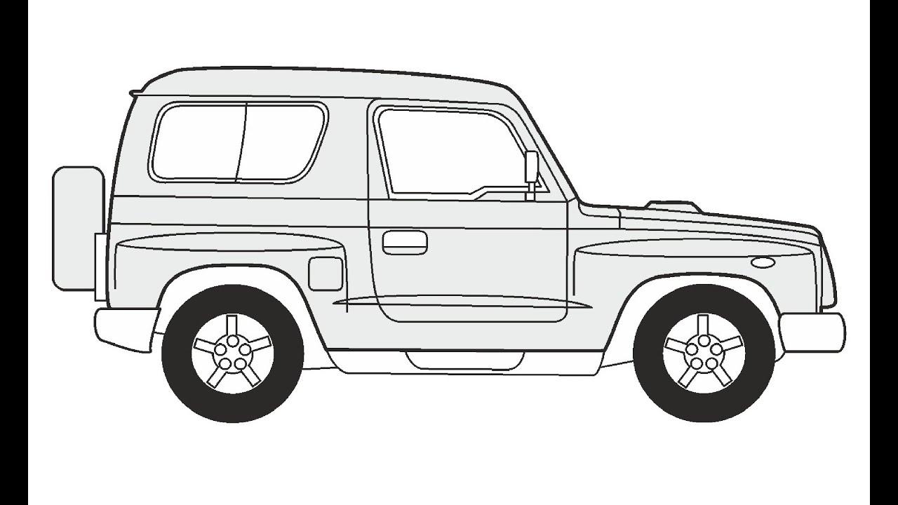 как нарисовать машину киа спортейдж