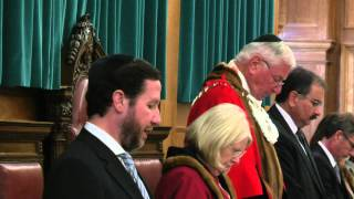 Rabbi Yitzchak Schochet prays remembers the Munich Massacre and 9/11 at Barnet Council meeting
