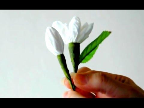 วิธีทำ ดอกมะลิ จากกระดาษทิชชู่ ประดิษฐ์ ดอกมะลิ ให้ วันแม่ How to make tissue paper Jasmine flowers