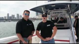 PointClickFish.com - 2013 Miami Boat Show Liquid Fire Fishing Team Intrepid 375 Center Console TE