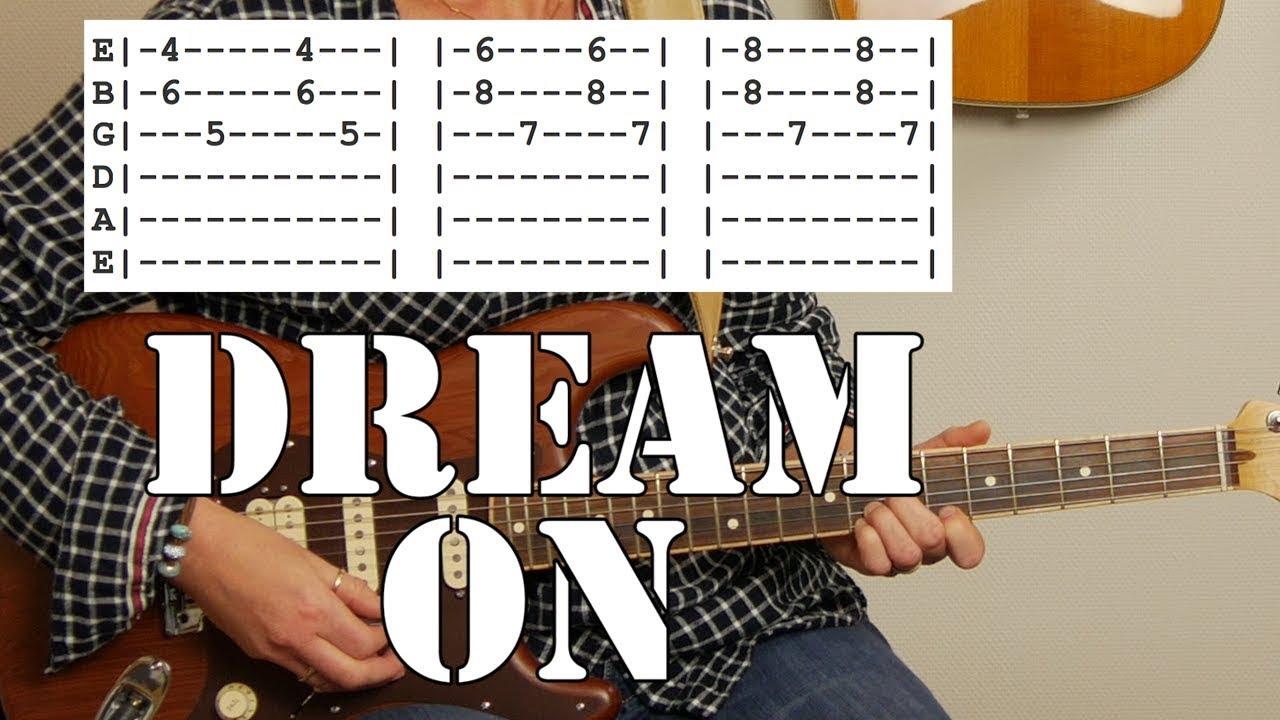 Aerosmiths Dream On Simplified Guitar Tutorial Tab Chords