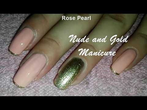 Elegant Nude and Gold Nail Art Tutorial- DIY Gold French Manicure | Rose Pearl thumbnail