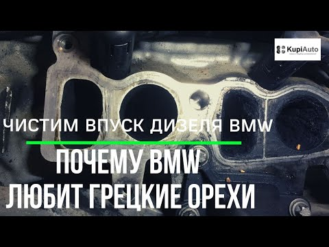 Чистим грецким орехом впуск в BMW 520d F10 N47. Сравним дилера BMW и минское СТО