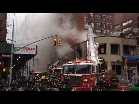 (READ DESCRIPTION) - FDNY BATTLING 6 ALARM FIRE AT A CITIBANK IN MANHATTAN, NEW YORK CITY.