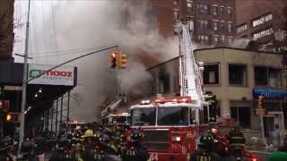 (READ DESCRIPTION) - FDNY BATTLING 6 ALARM FIRE AT A CITIBANK IN MANHATTAN, NEW YORK CITY.