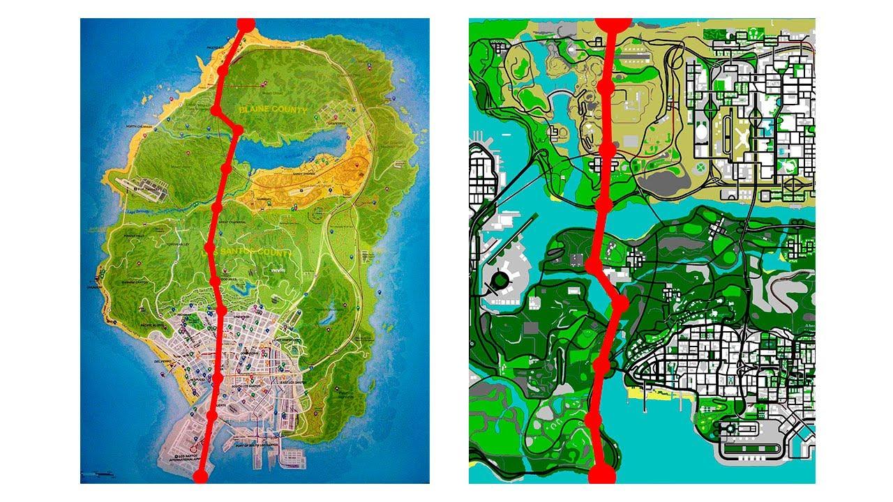 grand theft auto san andreas map vs gta 5