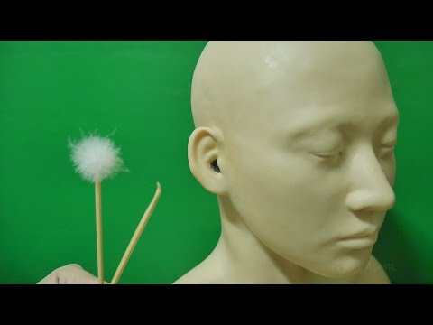 ASMR No Talking Ear Cleaning : Hard earwax cleaning with wooden and fluffy ear picks