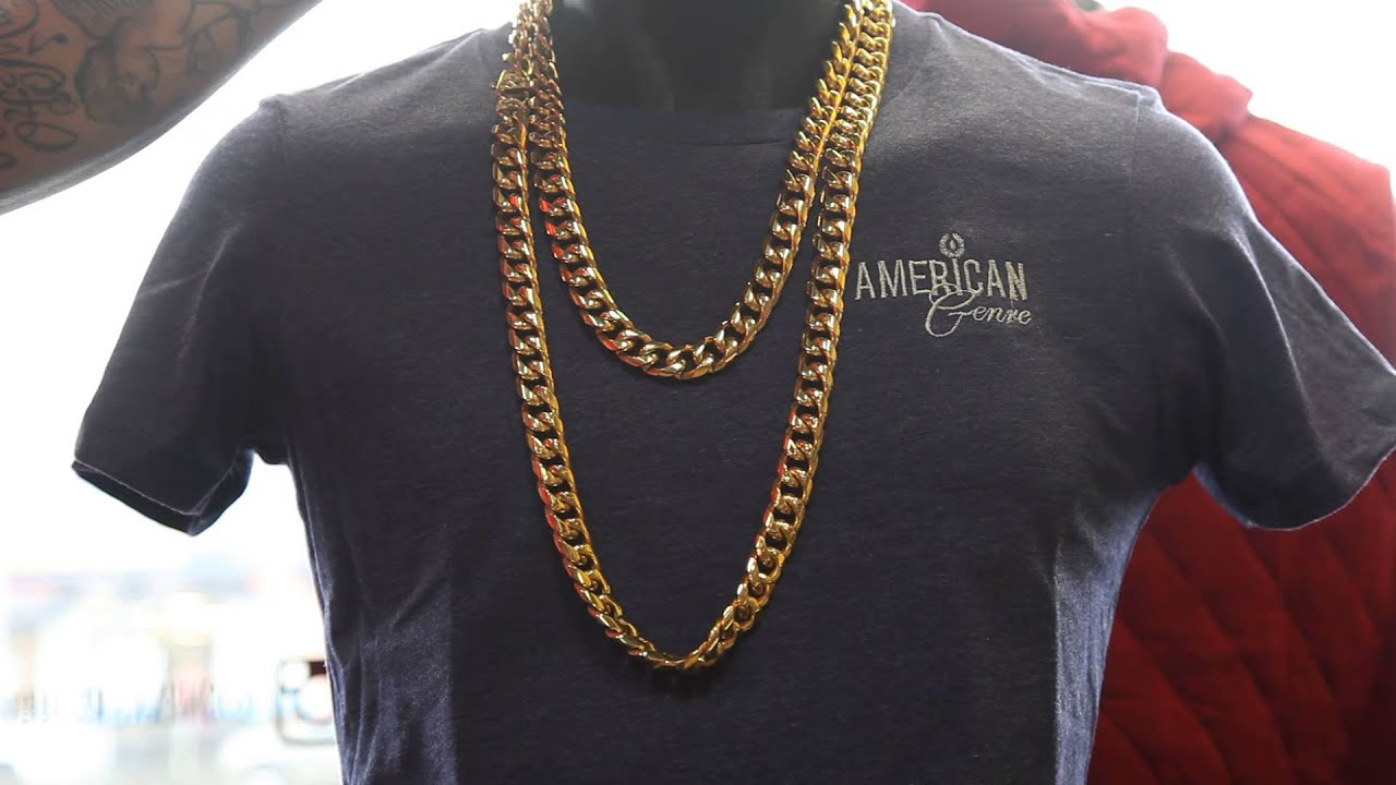 gold stainless steel cuban link chains golden gilt