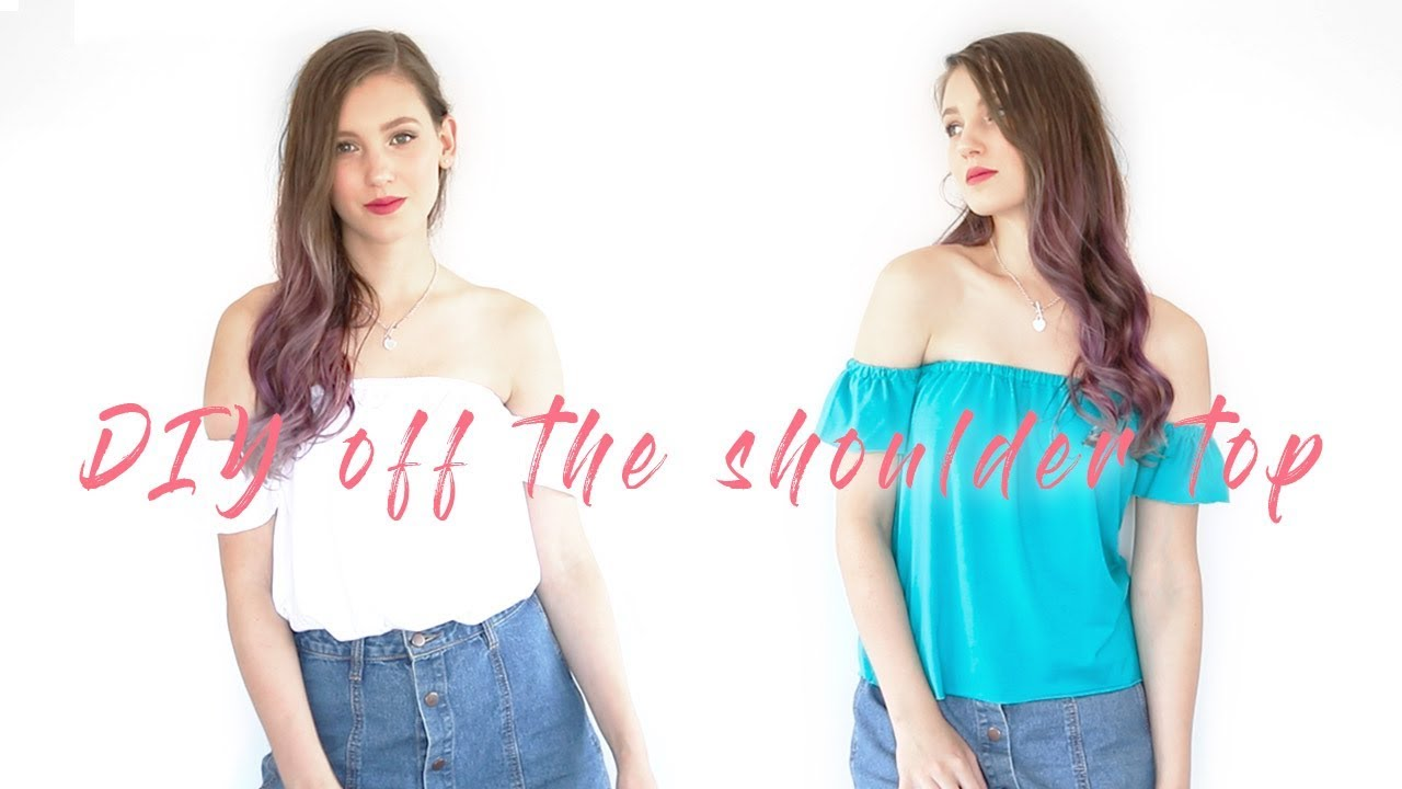 how to cut shirt into off the shoulder