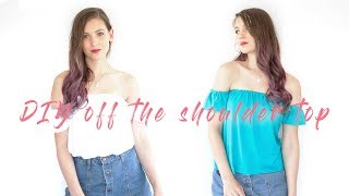 DIY Off The Shoulder Top | How to Turn a T-shirt into a Bardot Top