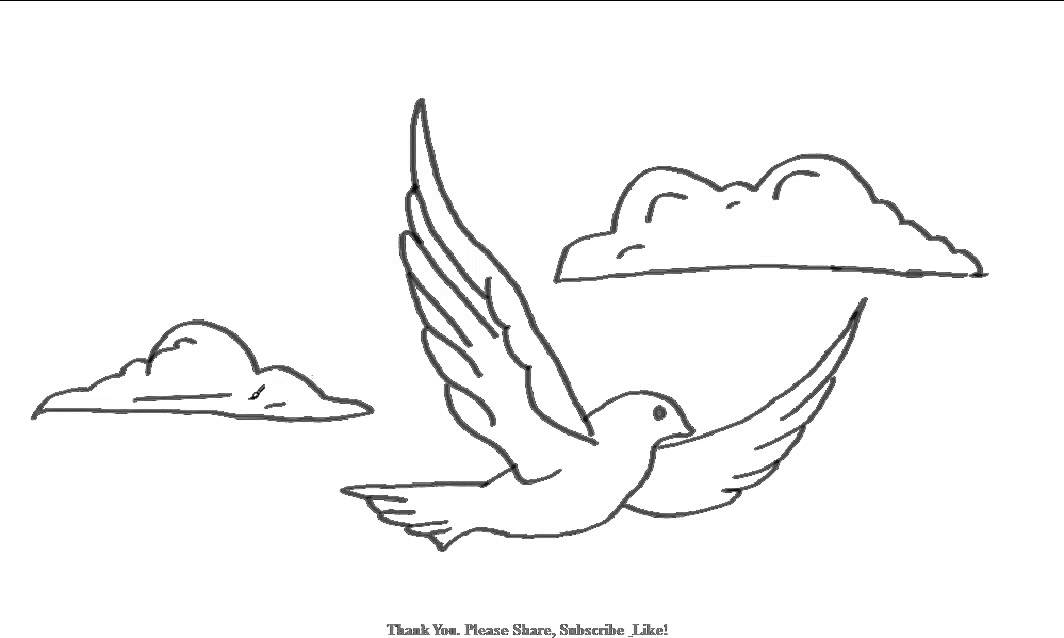 how to draw a bird flying in the clouds yzarts